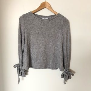 Heather Grey Tie Sleeve Pullover